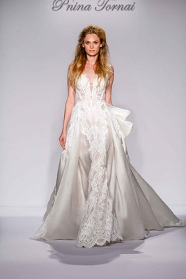 Pnina Tornai for Kleinfeld 2016 ivory ball gown with lace and bow in back