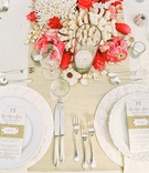 White coral and pink florals with seagrass bands