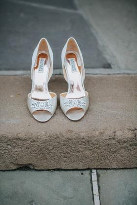 badgley mischka wedding shoes, white peep-toe heels with crystal detailing