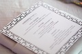 Geometric pattern border on wedding menu card