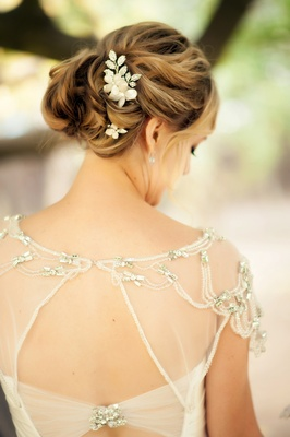 Sparkling hair accessories in curled updo