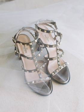 Stephanie Ming wedding day shoes Valentino stud sandals