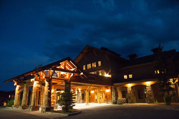 Moonlight Basin Lodge at night in Big Sky, Montana