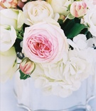 Blush and white flowers in metallic vase