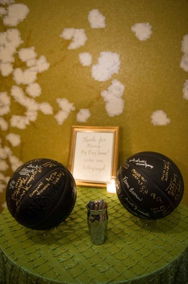 in lieu guest book couple provided black basketballs pens to sign honor groom basketball player