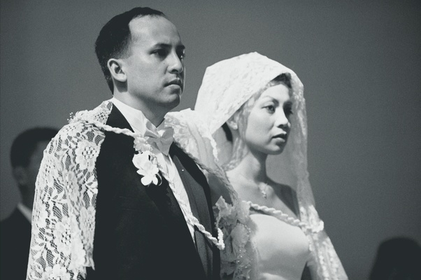 Black and white image of Filipino wedding ceremony