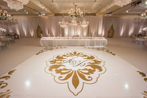 Wedding reception dance floor with couple's monogram, damask print in gold at Montage Laguna Beach