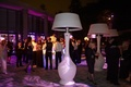 White outdoor heaters that look like lamp shades