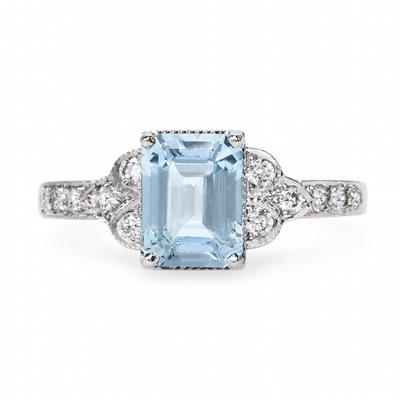 Claire Pettibone x Trumpet & Horn Brigitte engagement ring with aquamarine
