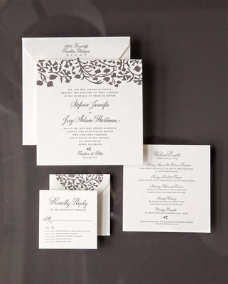 Square stationery suite with leaf motif