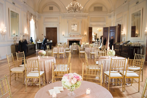 Wedding ballroom cocktail hour at Oheka Castle