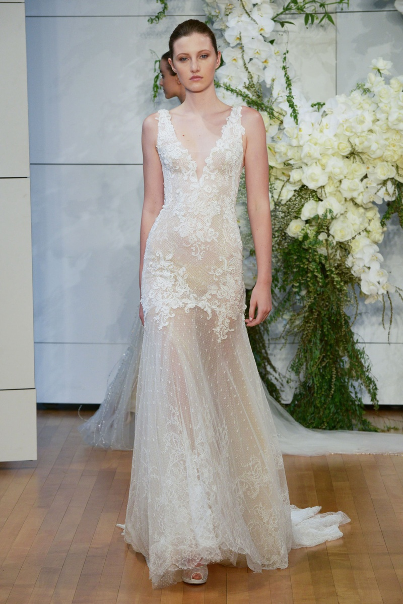 335b2133abc Monique Lhuillier spring 2018 bridal collection wedding dress Dylan v neck  sheer gown with lace dots.