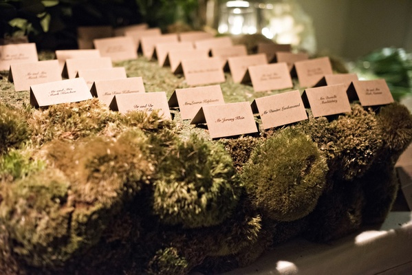 escort cards on a table covered in moss