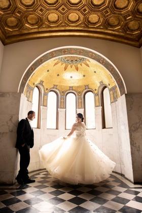 Danielle Keller and Michael Makar wedding portrait at Vibiana in Los Angeles
