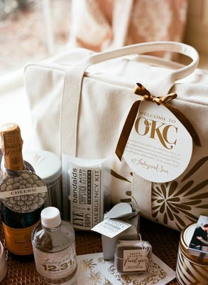 Wedding welcome bag with champagne and emergency kit