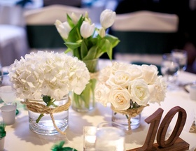 Rustic reception decorations with wood table number
