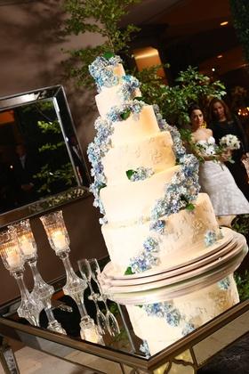 6 six tier white cake spiral fresh flowers dominican republic wedding dessert hydrangea patterns