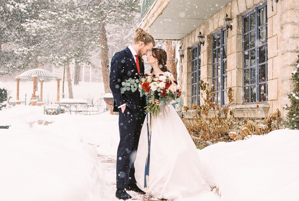 beauty beast movie styled wedding shoot snow utah la caille restaurant french bouquet blue red white