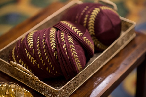 marsala colored yarmulkes kippahs wine details gold jewish wedding tradition florida