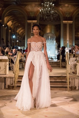 Idan Cohen Fall Winter 2018 Empire of Love wedding dress illusion short sleeve gown high slit