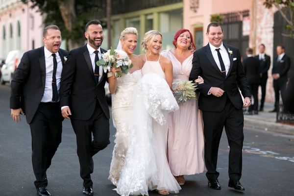 Brittany Daniel actress with twin sister Cynthia and husband adam touni and bridesmaid groomsman