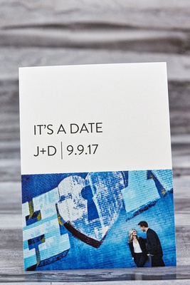 Modern invitation save the date card it's a date initials wedding date engagement photo blue