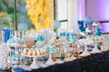 blue and white winter snow themed sweets table