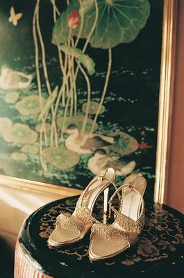 Bridal shoes with bling on display