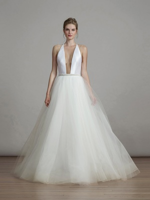 Liancarlo spring 2018 Soft Mikado plunging halter illusion tulle ball gown bridal collection