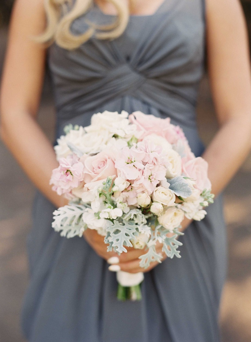 Bouquets photos pastel pink ivory bridesmaid bouquet inside blonde bridesmaid in grey long bridesmaid dress holding bouquet with light pink rose dusty miller mightylinksfo