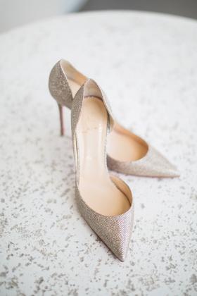 pointed-toe metallic christian louboutin wedding heels