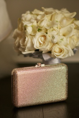 wedding accessories gold silver metallic shimmer clutch box with white rose bouquet