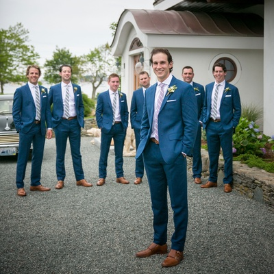 Montreal Canadiens Brian Flynn in Blank Label navy suit with groomsmen