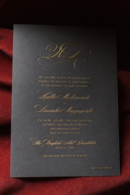 deep hued wedding invitation gold writing fancy elegant initials dayton ohio