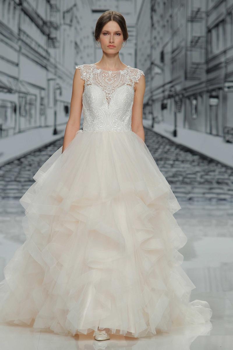 Wedding Dresses Photos - Ball Gown, Layered Skirt, Illusion Neckline ...