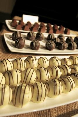 White, milk, and dark chocolates on platters