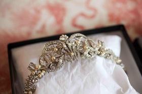 Bride's silver-tone tiara with rhinestones and pearls