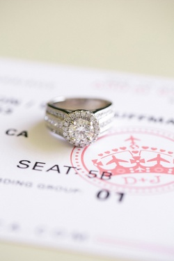Diamond ring on top of airline ticket save-the-date