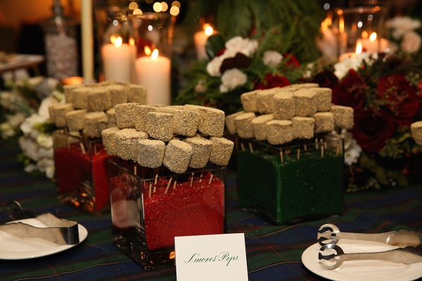 Mini smores pops at holiday theme wedding reception on sticks