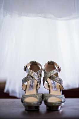 sparkly silver open toe Jimmy Choo heels