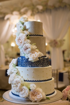 five tier navy silver cake glitter north carolina wedding flowers lemon curd raspberry