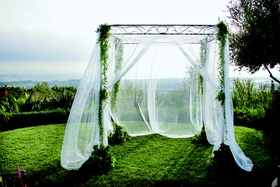 Iron wedding ceremony structure with greenery and sheer drapes