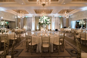 casa del mar santa monica wedding reception, gold chiavari chairs, tall centerpiece with roses