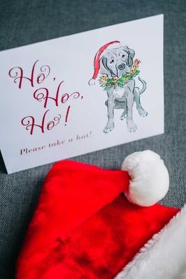 wedding favors ho ho ho please take a hat sign with dog illustration drawing santa hats
