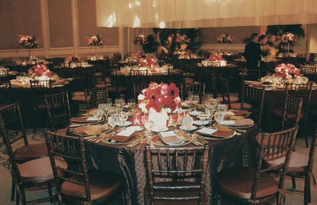 Ritz-Carlton ballroom with brown and burgundy wedding decorations