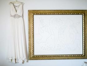 Jenny Packham wedding dress with silver waist detail v neck and keyhole back