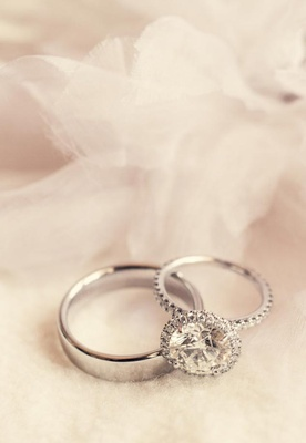 Platinum wedding band and sparkling ring