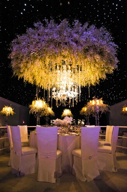 A dramatic halo created from thousands of floral blooms serves as the centerpiece for this reception