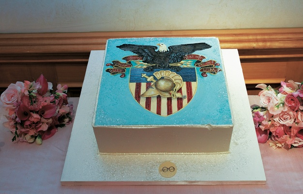 cake featuring seal of united states military academy at west point