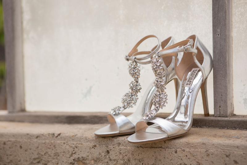 4b7856b82af Sparkling Metallic Silver Bridal Shoes. 0 Favorites  0 Repins. Badgley  Mischka sparkle silver heels open toe sandals ankle strap t strap